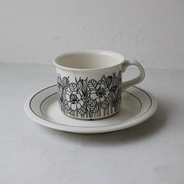 Krokus(クロッカス)モノクロ コーヒーカップ&ソーサー イメージ画像1