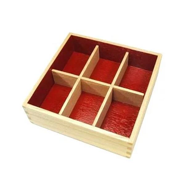白木塗タモ六つ切仕切り6.0重箱用 イメージ画像1