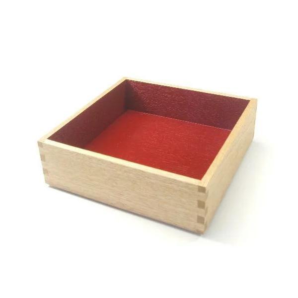白木塗タモ6.0重箱 内朱 一段のみ イメージ画像1